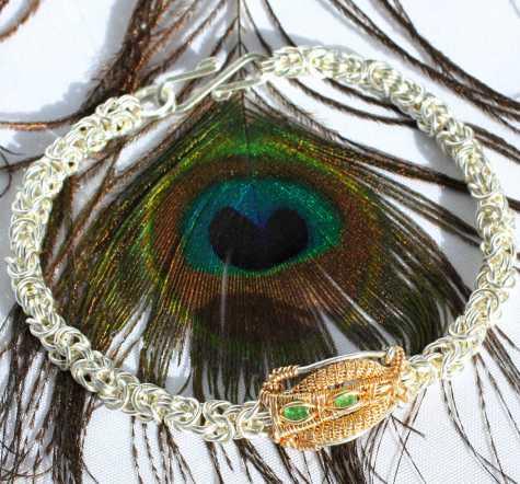 Emerald x2 in 14 karat Gold & Sterling Silver Byzantine Chain Bracelet