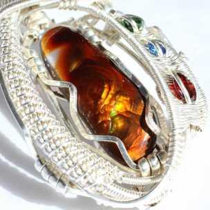 Fire Agate Garnet Sapphire Emerald in Sterling Silver Pendant