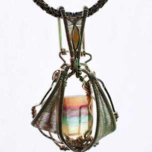 Fluorite & Opal in Sterling Silver Pendant