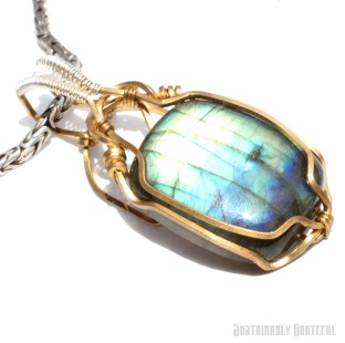 Labradorite Pendant in Brass and Sterling Silver