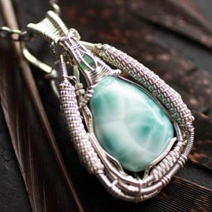 Larimar & Emerald in Sterling Silver Pendant