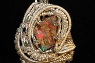 Opal Emerald x2 Sapphire in Sterling Silver & Titanium Pendant