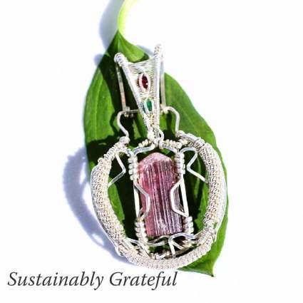 Tourmaline Emerald Garnet in Sterling Silver Pendant