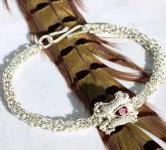 Rhodolite Garnet in Sterling Silver Byzantine Chain Bracelet