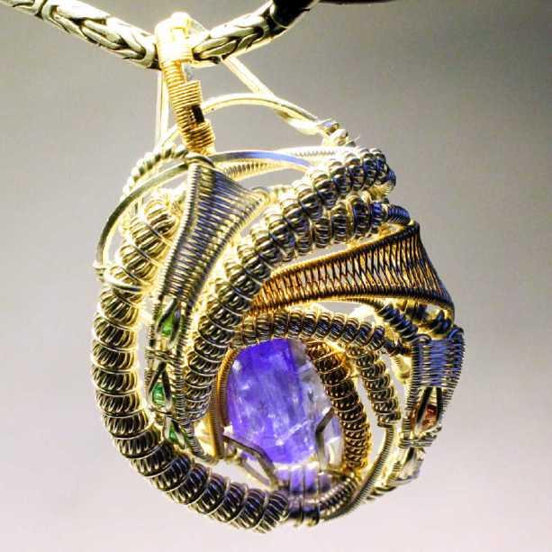 Tanzanite Garnet Emerald in 14 karat Gold & Sterling Silver Pendant