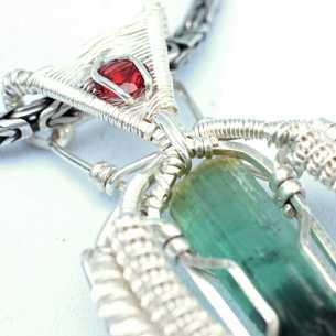 Tourmaline & Rhodolite Garnet in Sterling Silver Pendant