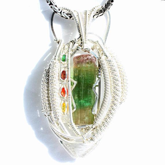 Tourmaline Sapphire x3 Emerald in Sterling Silver Pendant
